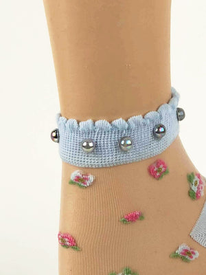 Classy Pearled Baby Blue Sheer Socks - Global Trendz Fashion®