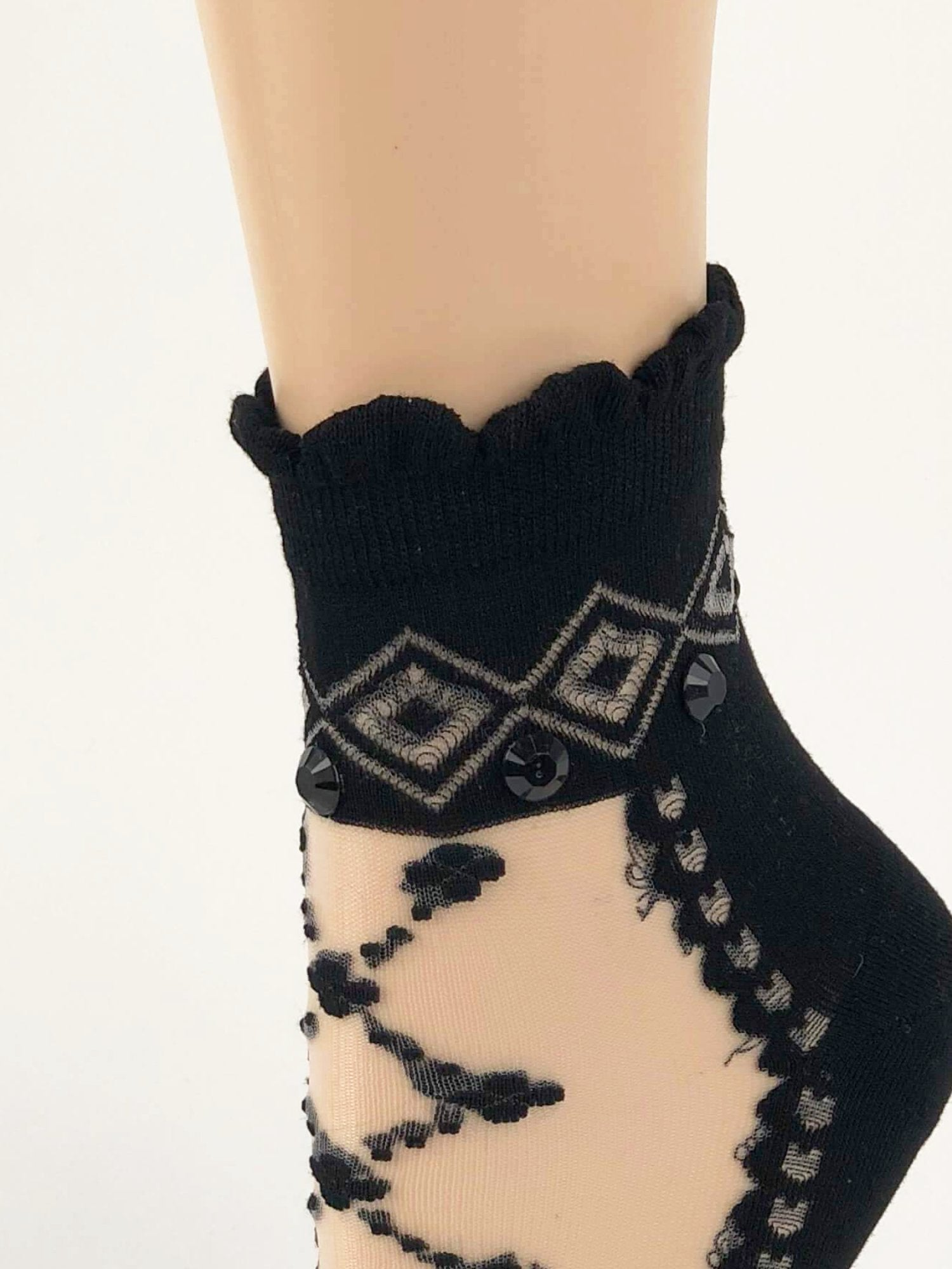 Black Criss-Cross Patterned Sheer Socks - Global Trendz Fashion®