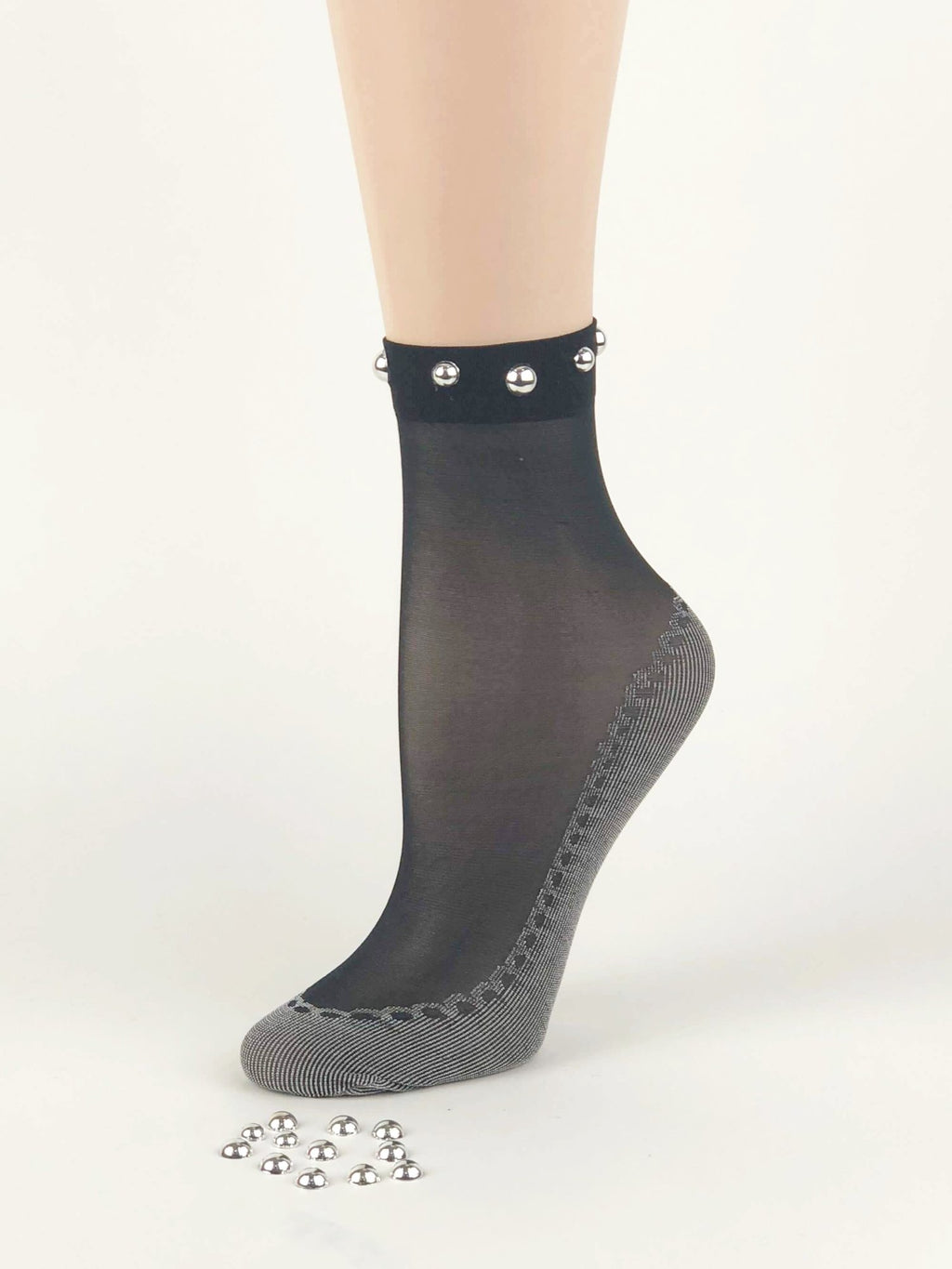 Black/Grey Pearls Sheer Socks - Global Trendz Fashion®