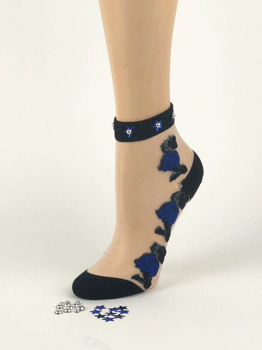 Dazzling Sea Blue Flowers Sheer Socks - Global Trendz Fashion®