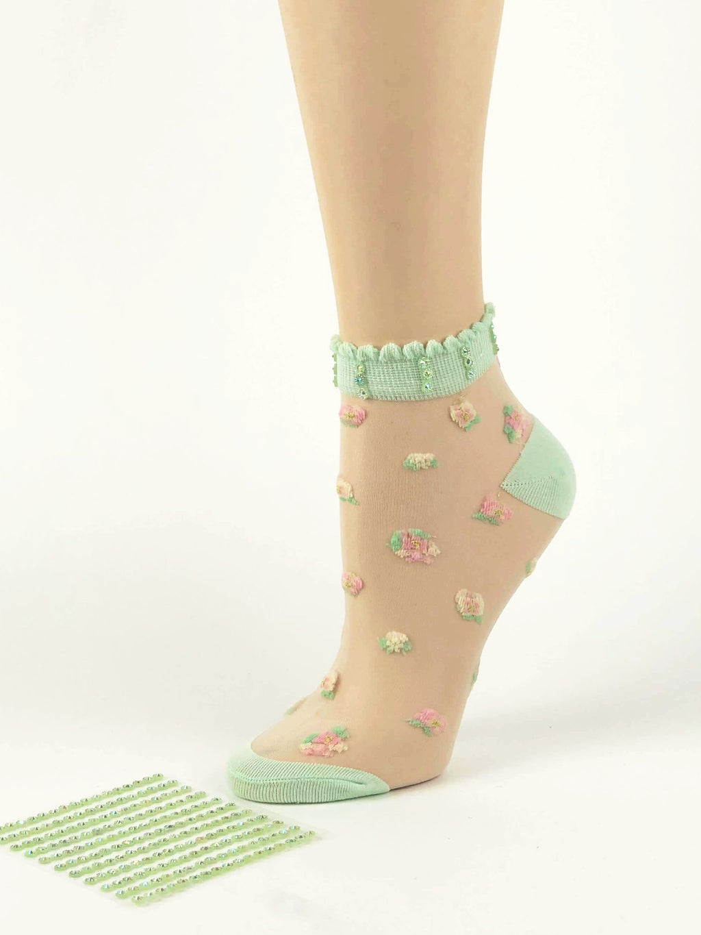 Creamy Green Flowers Sheer Socks - Global Trendz Fashion®