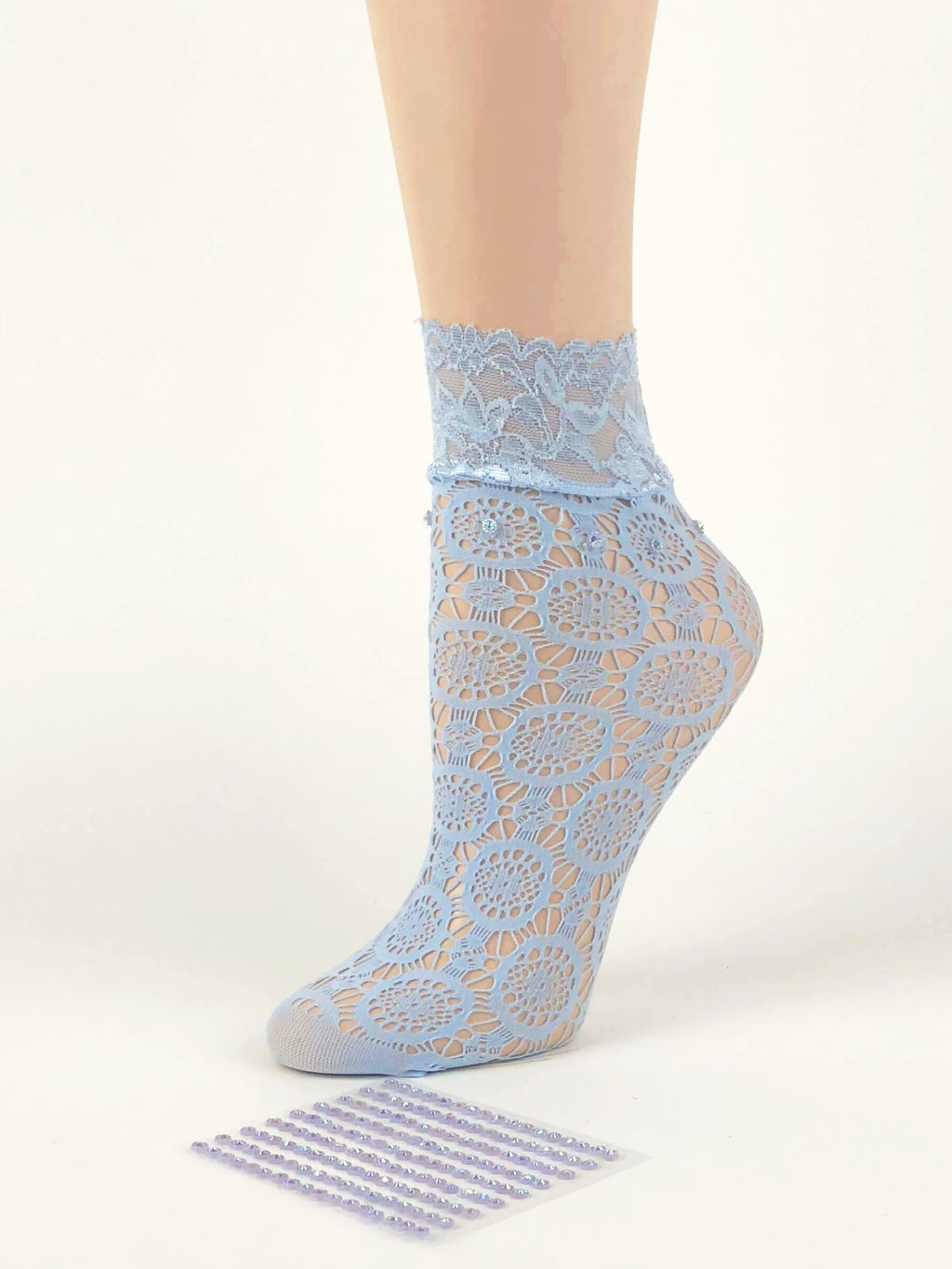 Geogrous Sky Blue Circle Patterned Sheer Socks - Global Trendz Fashion®