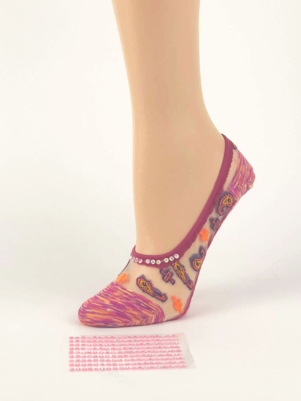Pink/Orange Patterned Ankle Sheer Socks - Global Trendz Fashion®