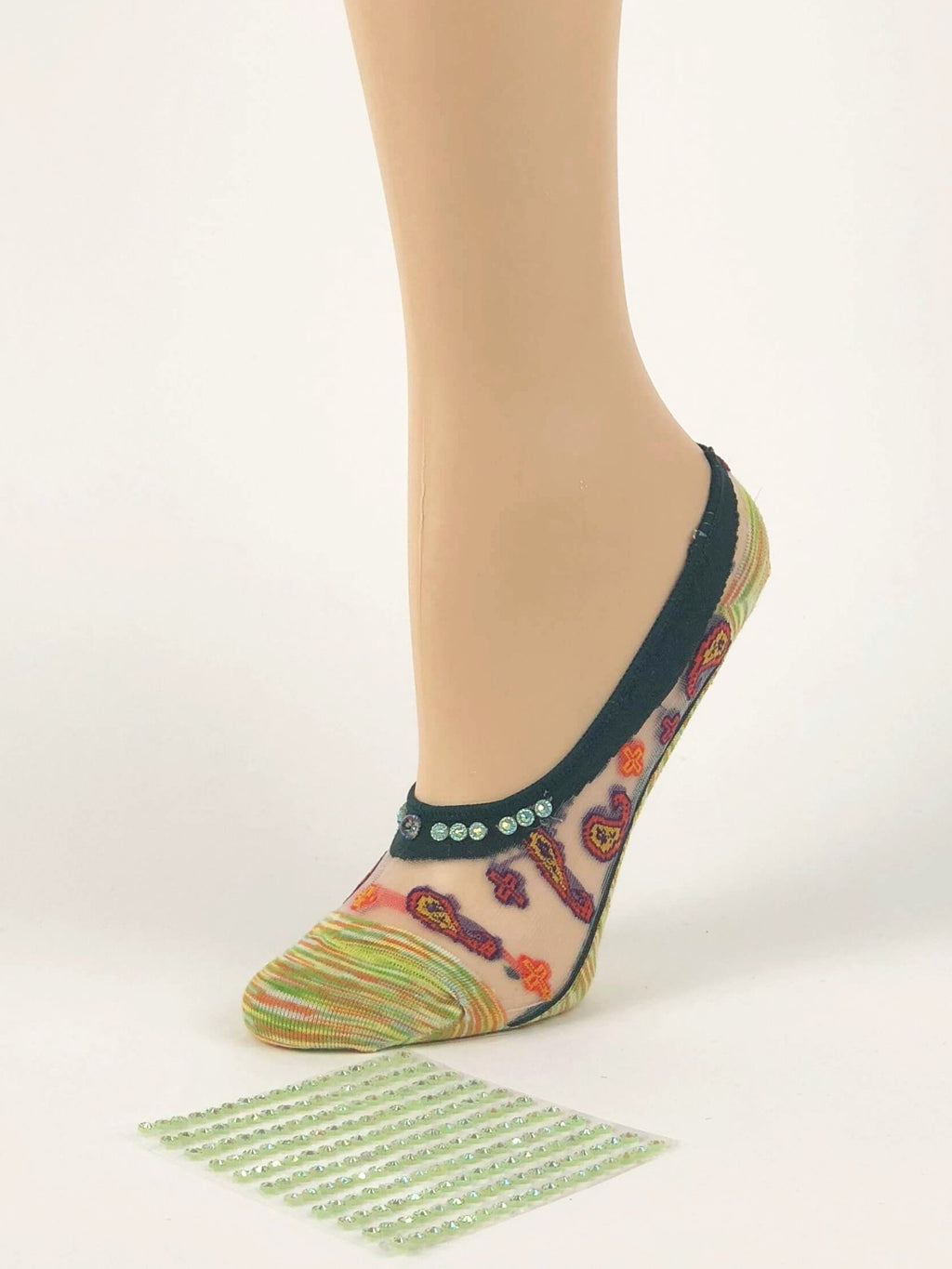 Green/Yellow Patterned Ankle Sheer Socks - Global Trendz Fashion®