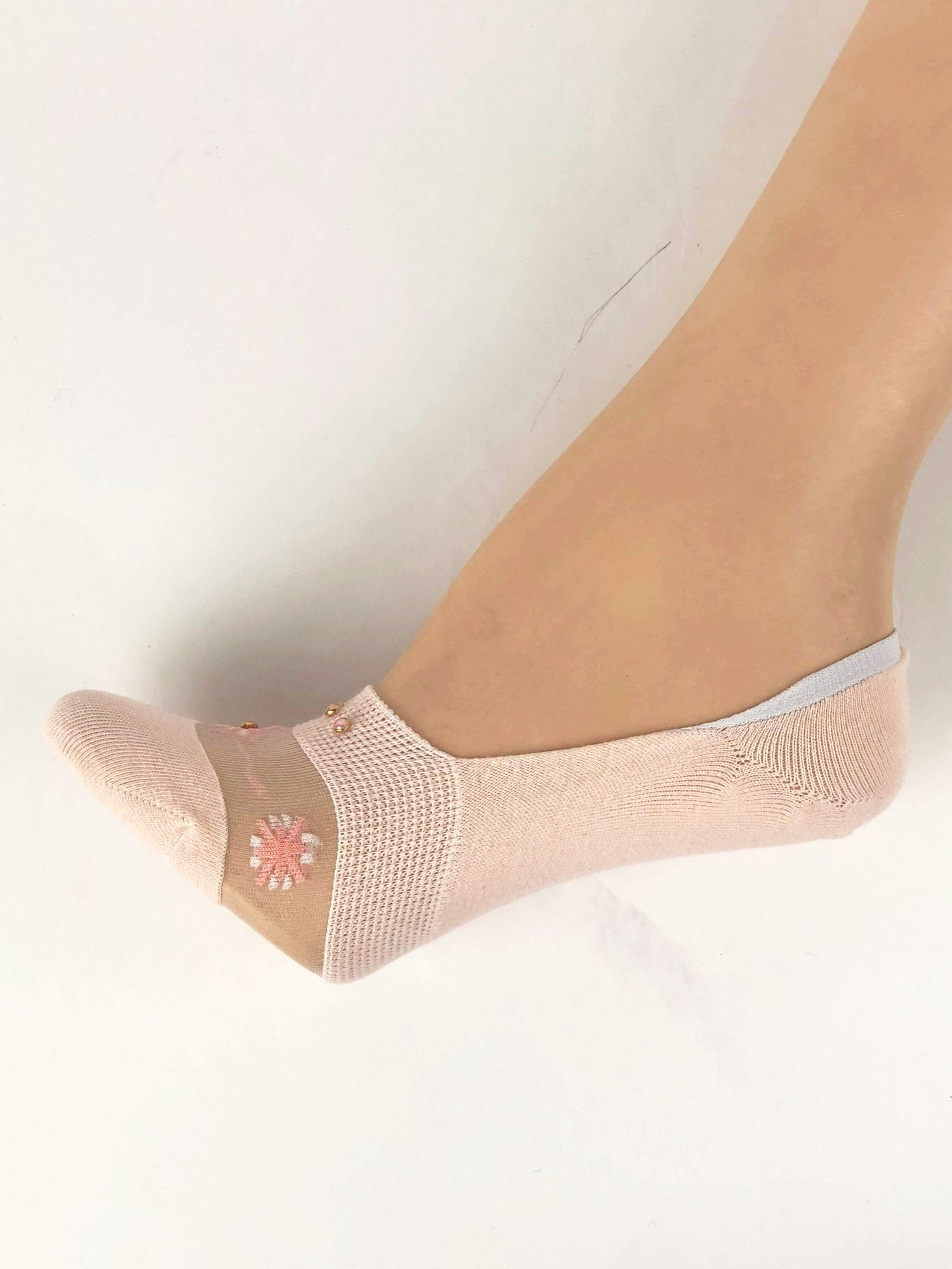 Pearled Baby Pink Ankle Sheer Socks - Global Trendz Fashion®