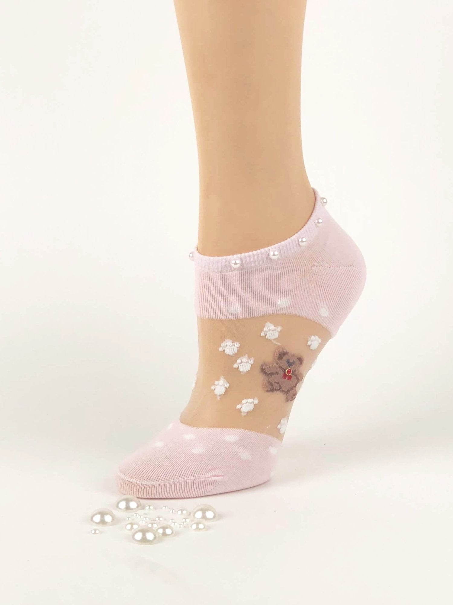 Adorable Pearled Bear Sheer Socks - Global Trendz Fashion®