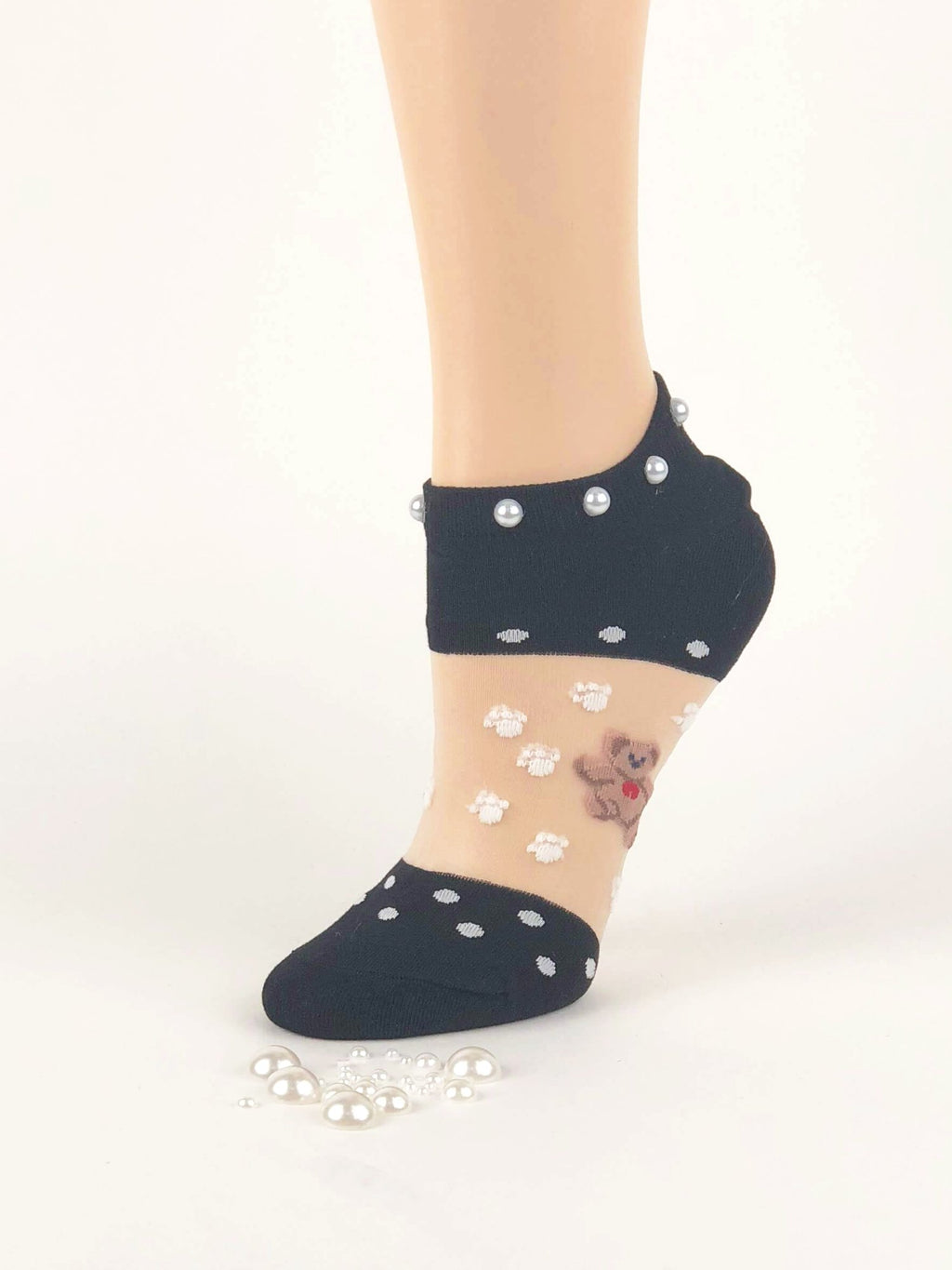 Adorable Pearled Bears Sheer Socks - Global Trendz Fashion®
