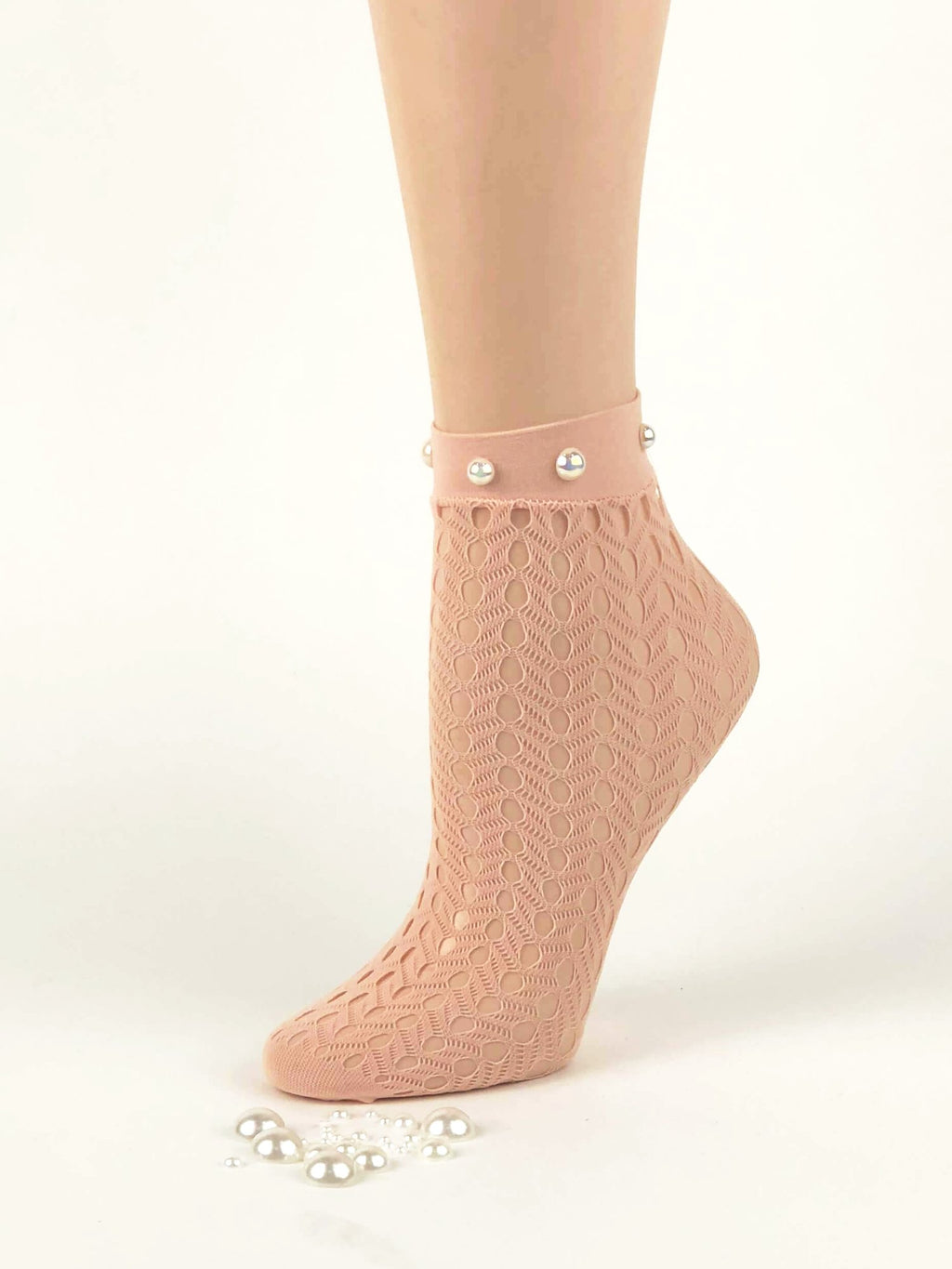 Pink Pearls Designed Sheer Socks - Global Trendz Fashion®