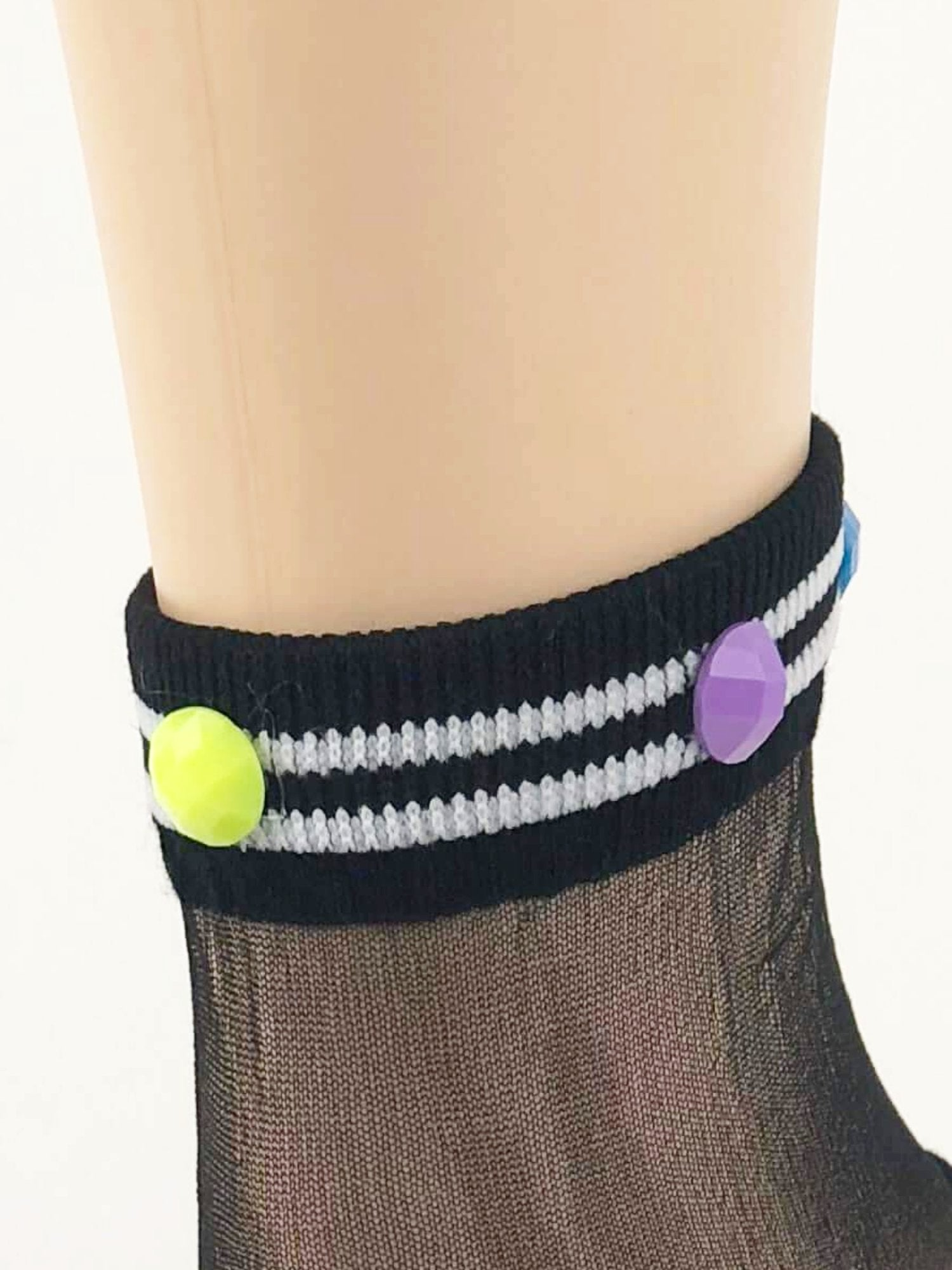 Simple Black Stripped Sheer Socks - Global Trendz Fashion®