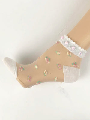 Elegant White Pearls Sheer Socks - Global Trendz Fashion®