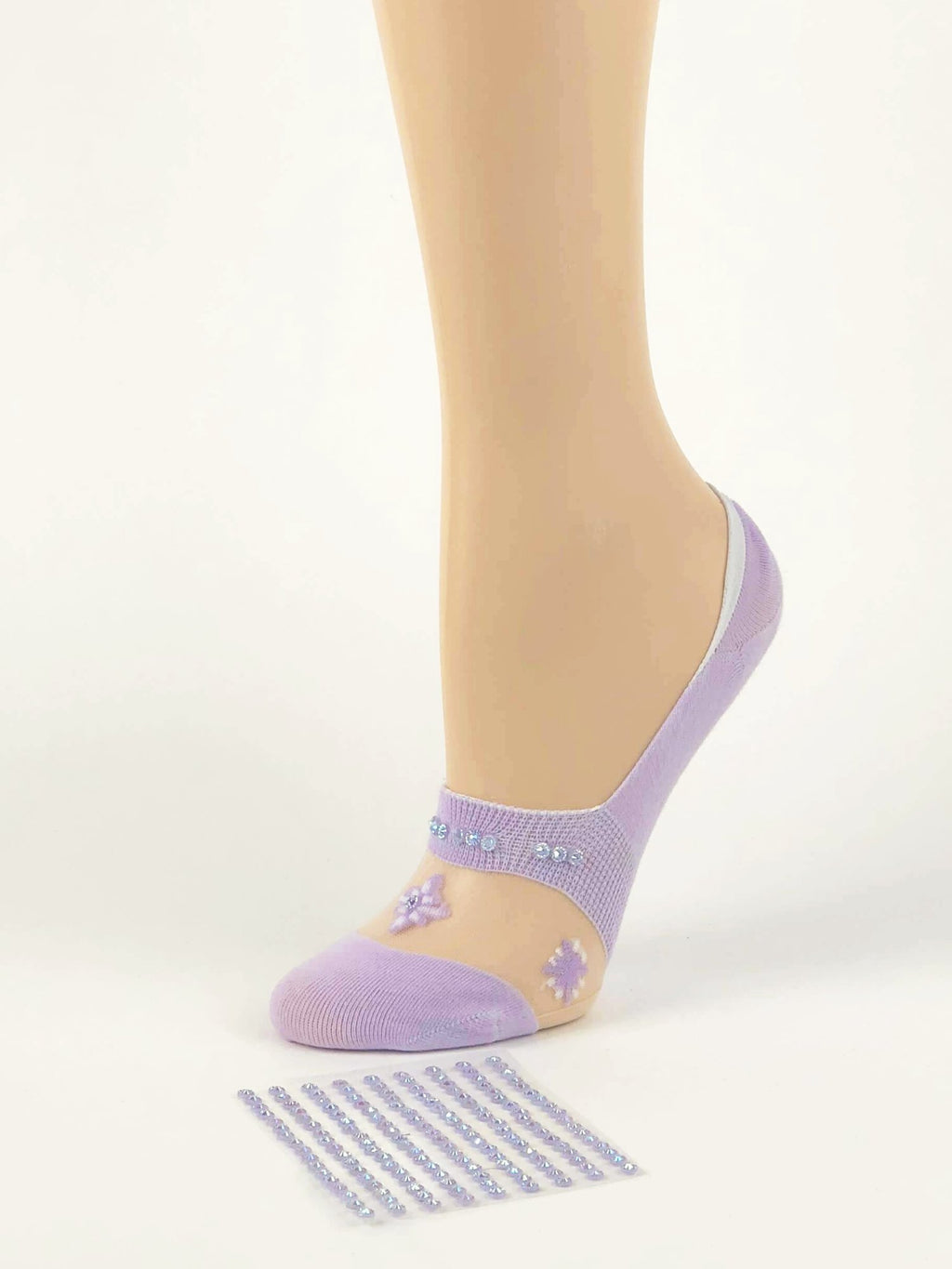 Purple Flower Ankle Sheer Socks- Global Trendz Fashion®