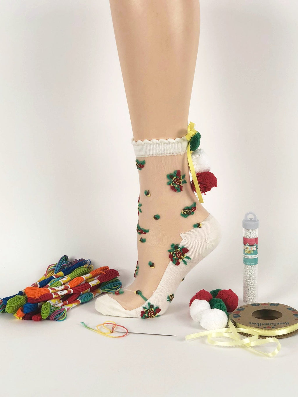 Red/Green Pompom Sheer Socks - Global Trendz Fashion®
