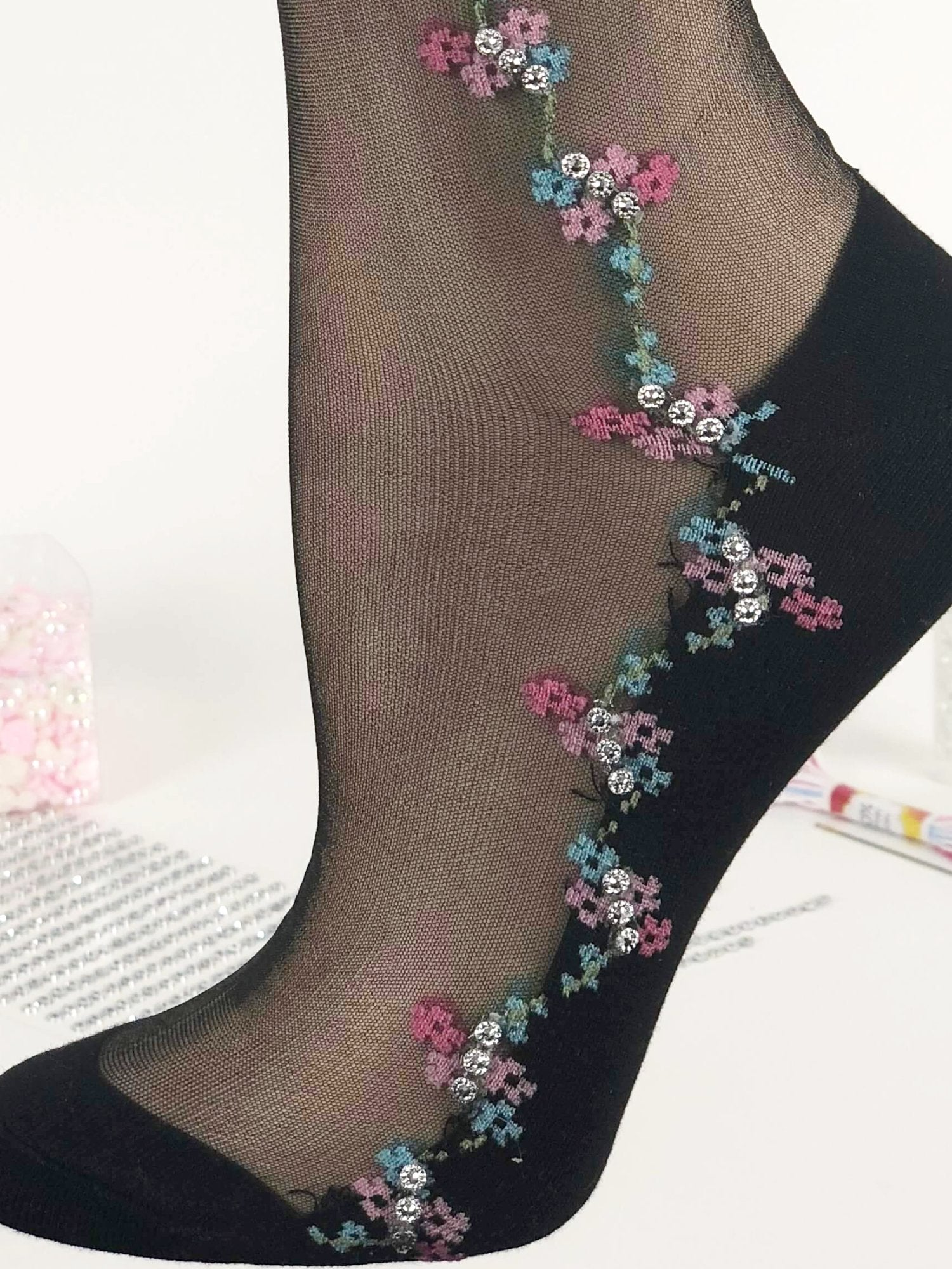 Pink/Green Flowers Sheer Socks - Global Trendz Fashion®
