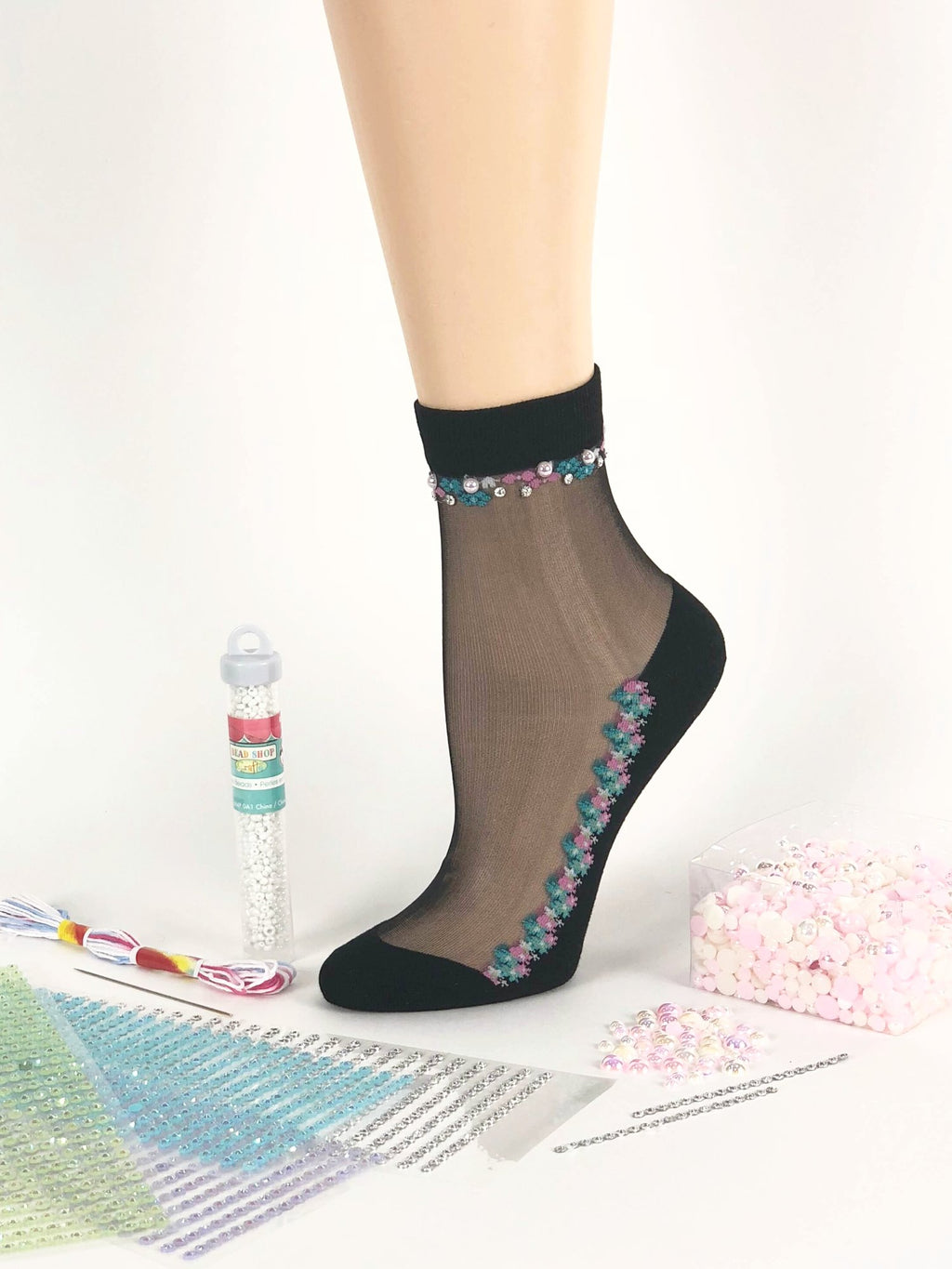 Blue/Pink Flower Sheer Socks - Global Trendz Fashion®