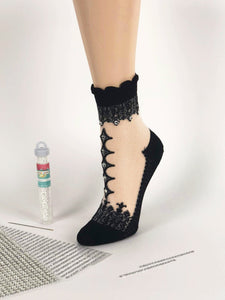 Diamond Black One-Stripped Sheer Socks - Global Trendz Fashion®
