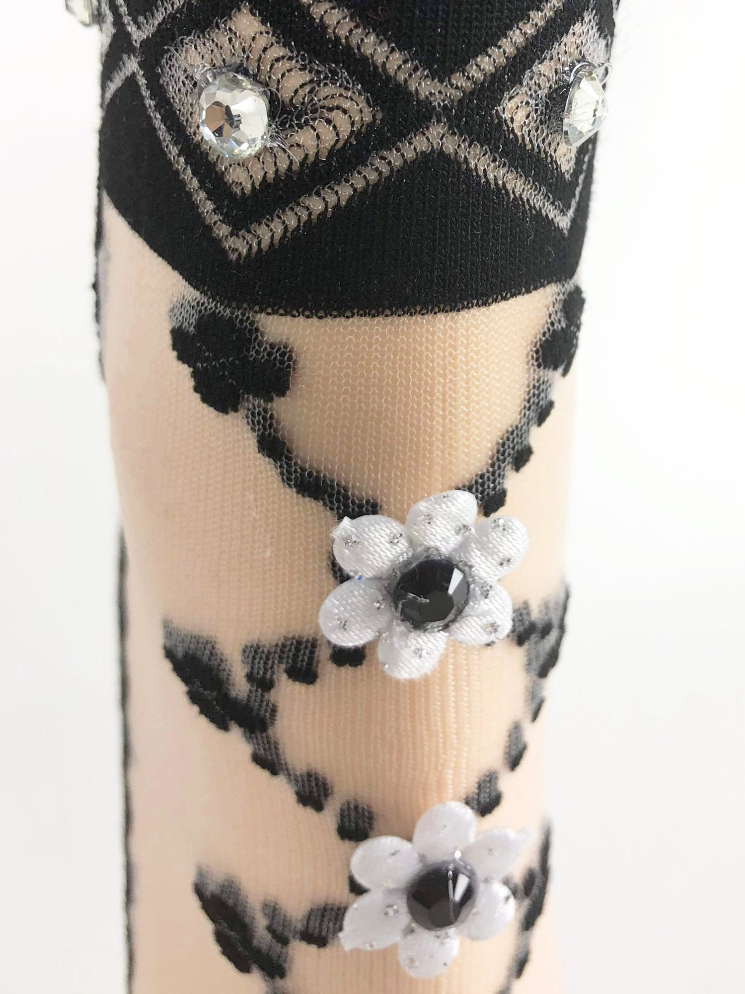 Elegant Black Flower Sheer Socks - Global Trendz Fashion®
