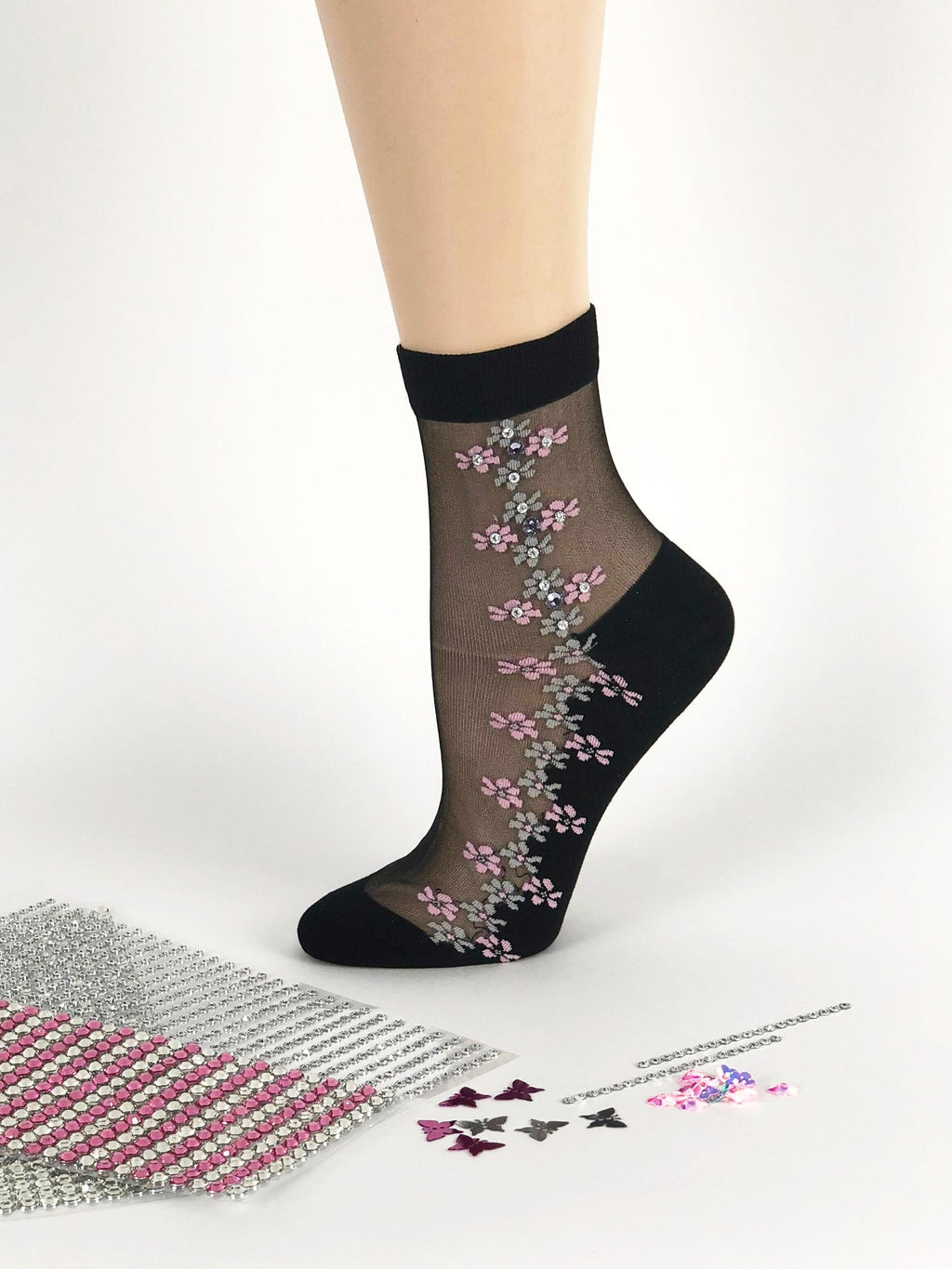 Georgeous Pink/Silver Flowers Sheer Socks - Global Trendz Fashion®