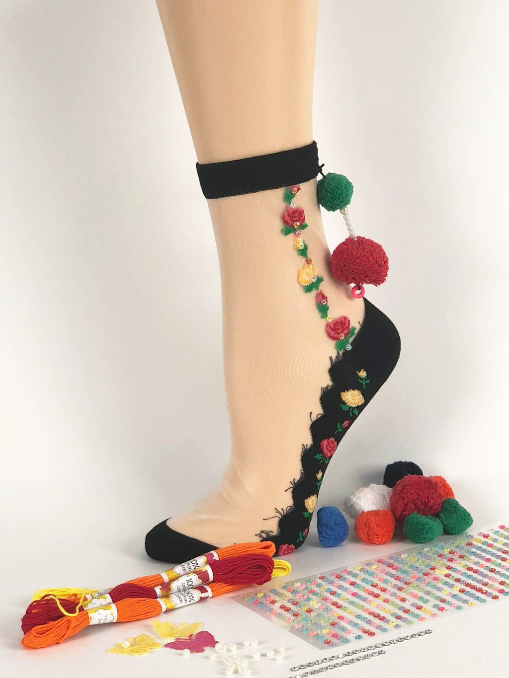 Dazzling One-Stripped Flowers Sheer Socks - Global Trendz Fashion®