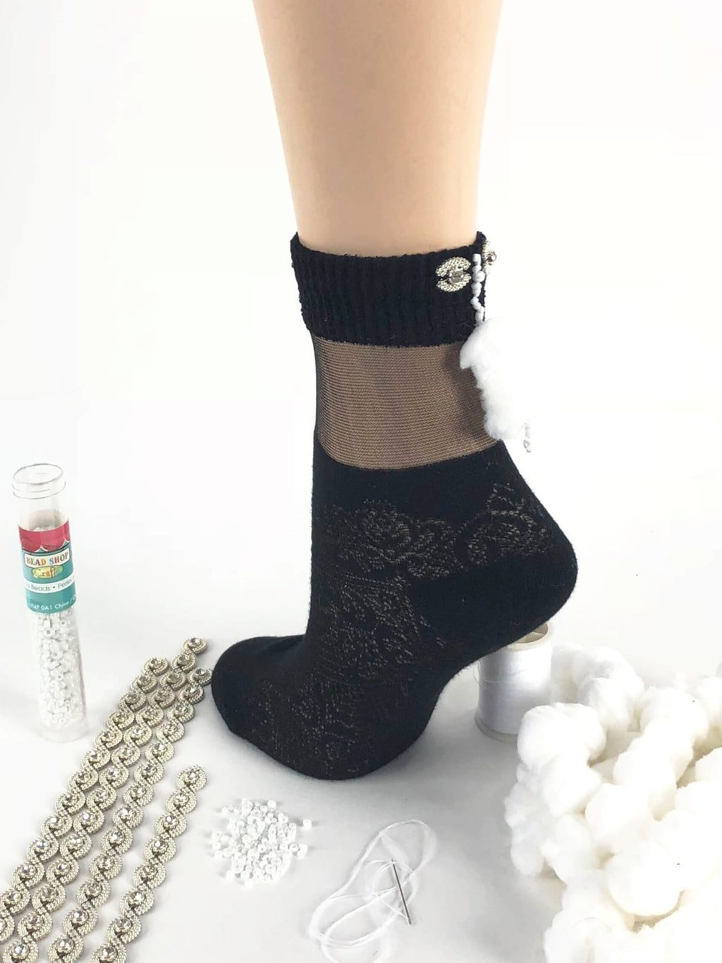 Stylish Black Patterned Sheer Socks- Global Trendz Fashion®
