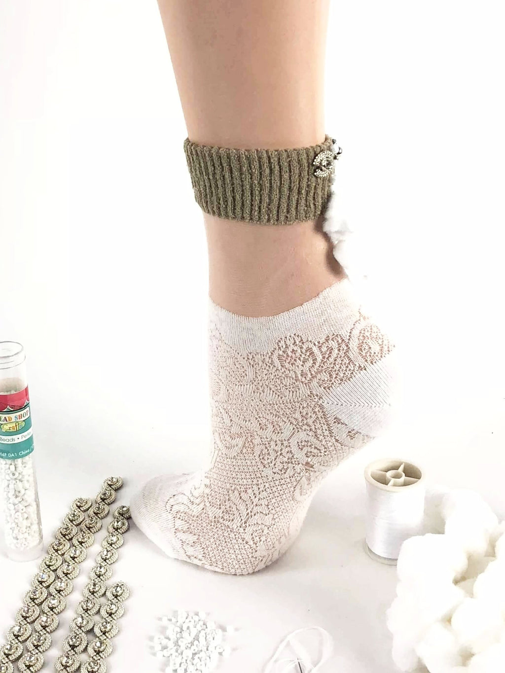 Stylish White Patterned Sheer Socks - Global Trendz Fashion®