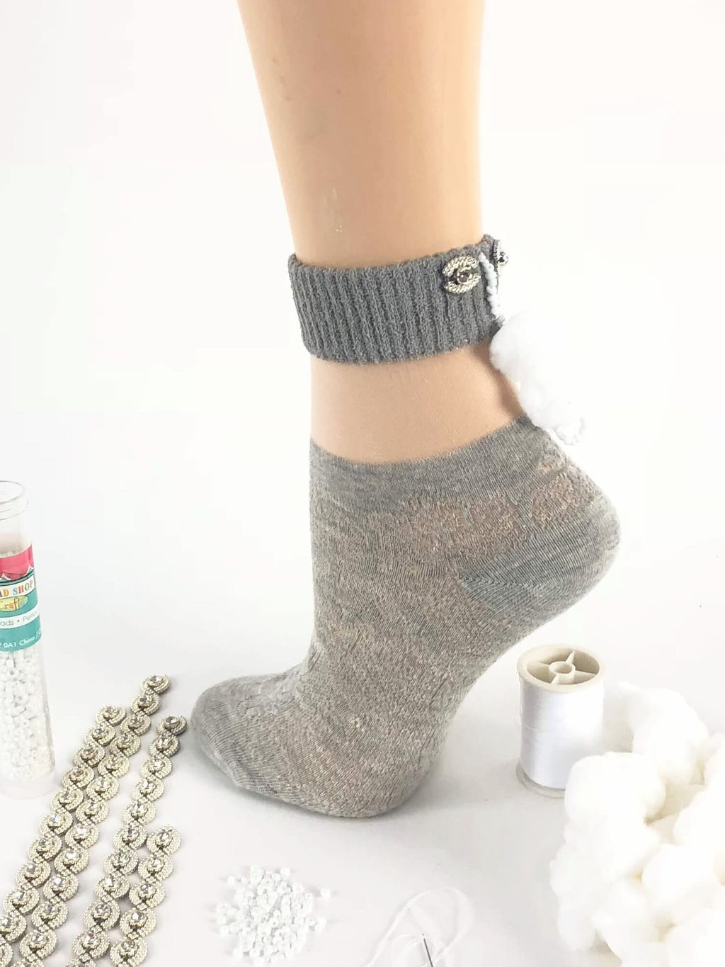 Stylish Grey Patterned Sheer Socks- Global Trendz Fashion®