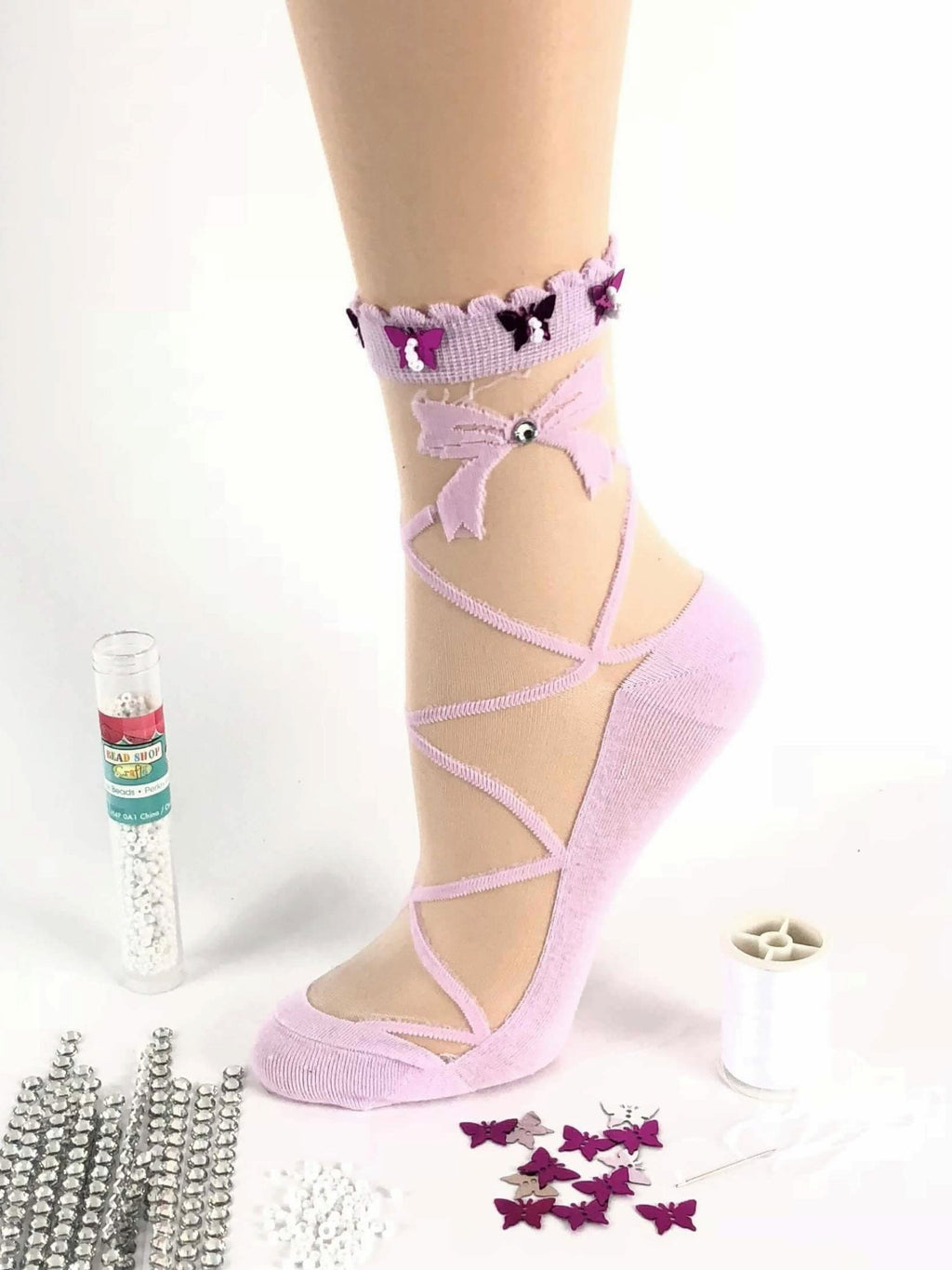 Pink Criss-Cross Patterned Sheer Socks - Global Trendz Fashion®