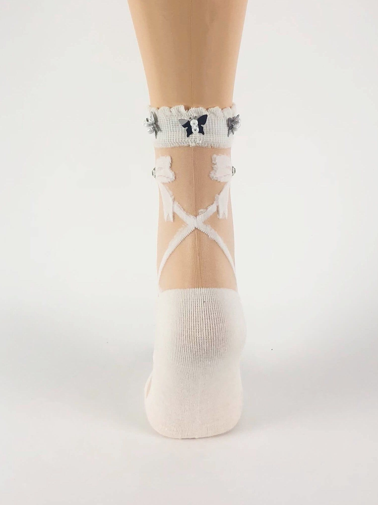 White Criss-Cross Patterned Sheer Socks - Global Trendz Fashion®