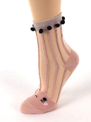 Stripped Pink Sheer Socks - Global Trendz Fashion®