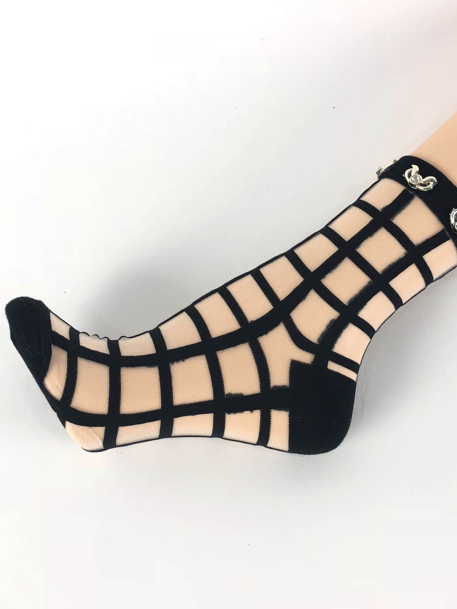Black Square Patterned Sheer Socks - Global Trendz Fashion®