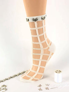 White Square Pattrened Sheer Socks - Global Trendz Fashion®