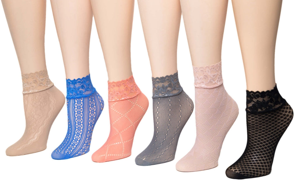 Gorgeous Coloured Mesh Sheer Socks (Pack of 6 Pairs) - Global Trendz Fashion®