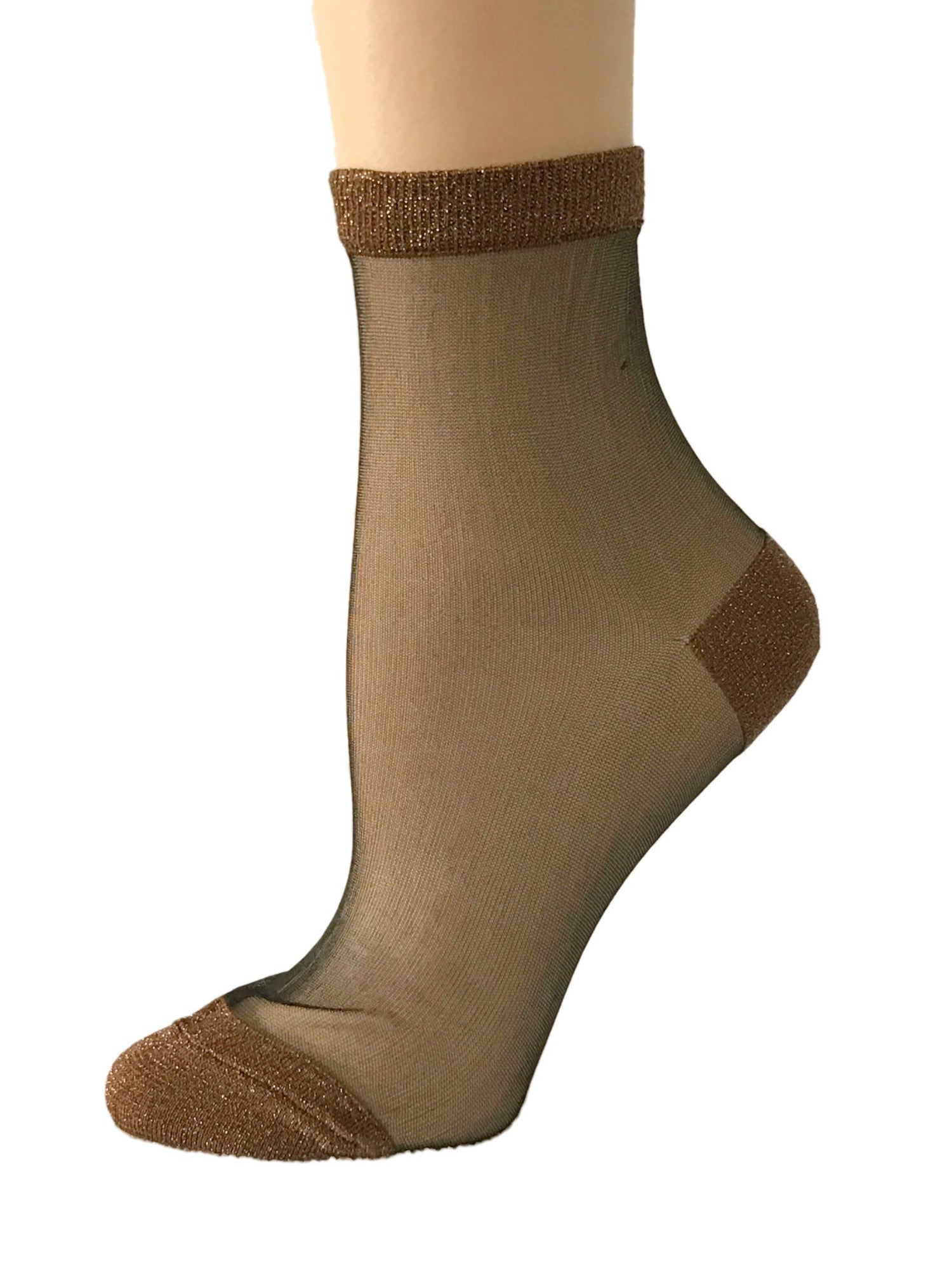 Charming Light Brown Glitter Socks - Global Trendz Fashion®
