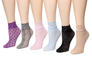 Elegant Net Patterned Sheer Socks (Pack of 6 Pairs) - Global Trendz Fashion®