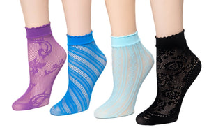 Various Patterned Net Sheer Socks (Pack of 4 Pairs) - Global Trendz Fashion®