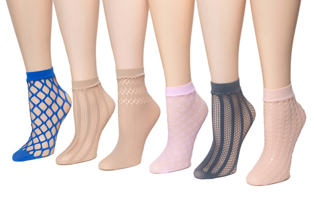 Dazzling Net Patterned Sheer Socks (Pack of 6 Pairs) - Global Trendz Fashion®