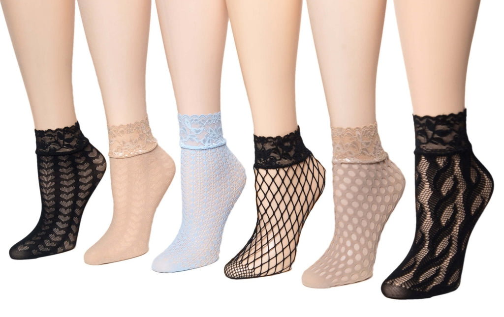 Charming Net Sheer Socks (Pack of 6 Pairs) - Global Trendz Fashion®