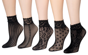 Black Multi Designed Sheer Socks (Pack of 5 Pairs) - Global Trendz Fashion®