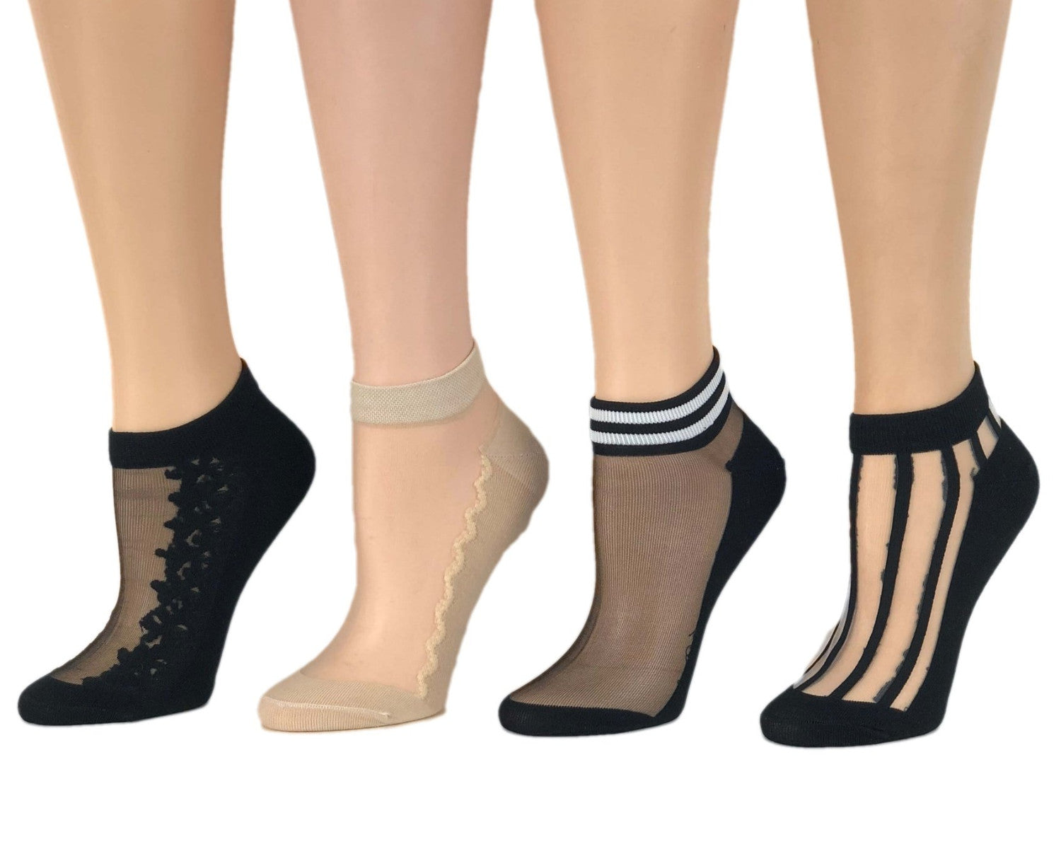 Various Designed Sheer Socks (Pack of 4 Pairs) - Global Trendz Fashion®