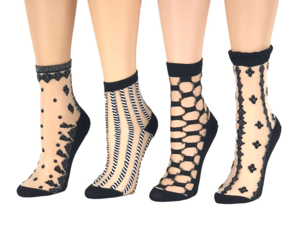 Various Black Designed Sheer Socks (Pack of 4 Pairs) - Global Trendz Fashion®