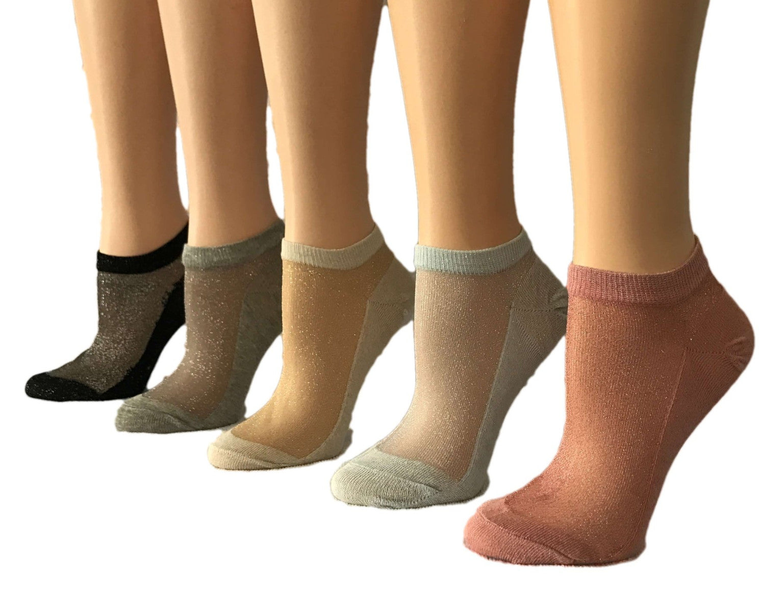 Dazzling Glittered Sheer Socks (Pack of 5 Pairs) - Global Trendz Fashion®