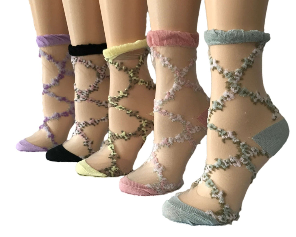 Crisscross/Flowers Patterned Sheer Socks (Pack of 5 Pairs) - Global Trendz Fashion®