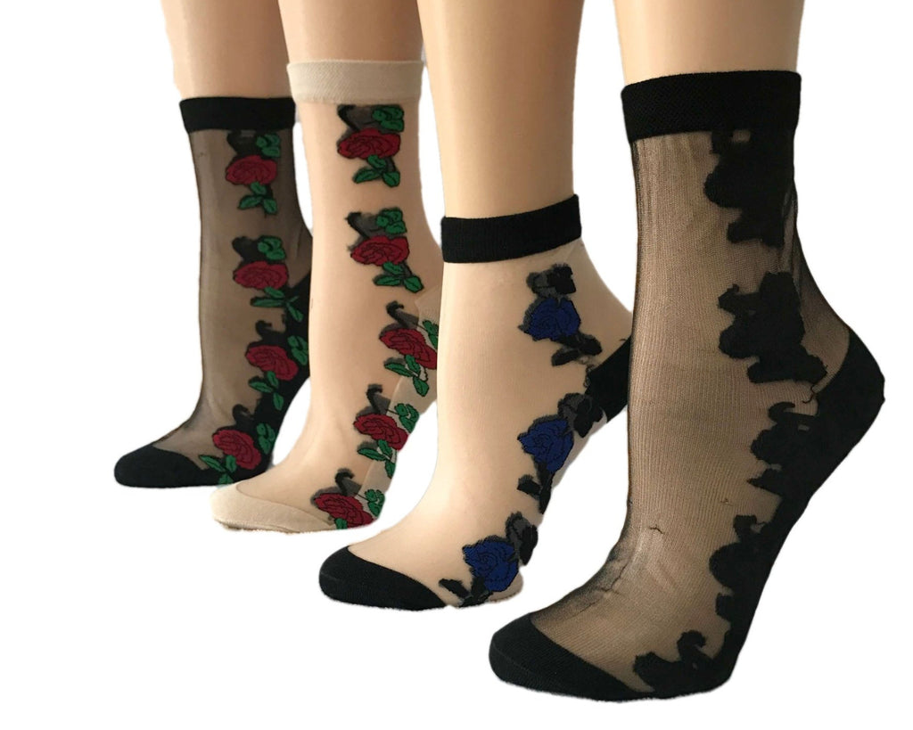 Flower Edges Sheer Socks (Pack of 4 Pairs) - Global Trendz Fashion®