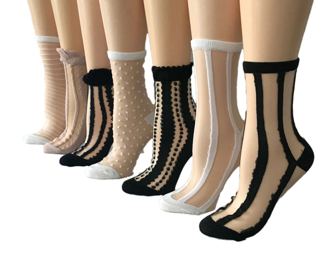 Stripped/Dotted Sheer Socks (Pack of 7 Pairs) - Global Trendz Fashion®