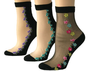 Adorable Flowers Sheer Socks (Pack of 3 Pairs) - Global Trendz Fashion®