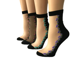 Beautiful Mini Edge Flowers Sheer Socks (Pack of 4 Pairs) - Global Trendz Fashion®