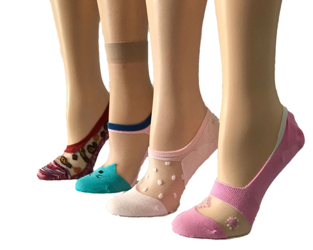 Multi Designs Creamy Colours Sheer Socks (Pack of 4 Pairs) - Global Trendz Fashion®