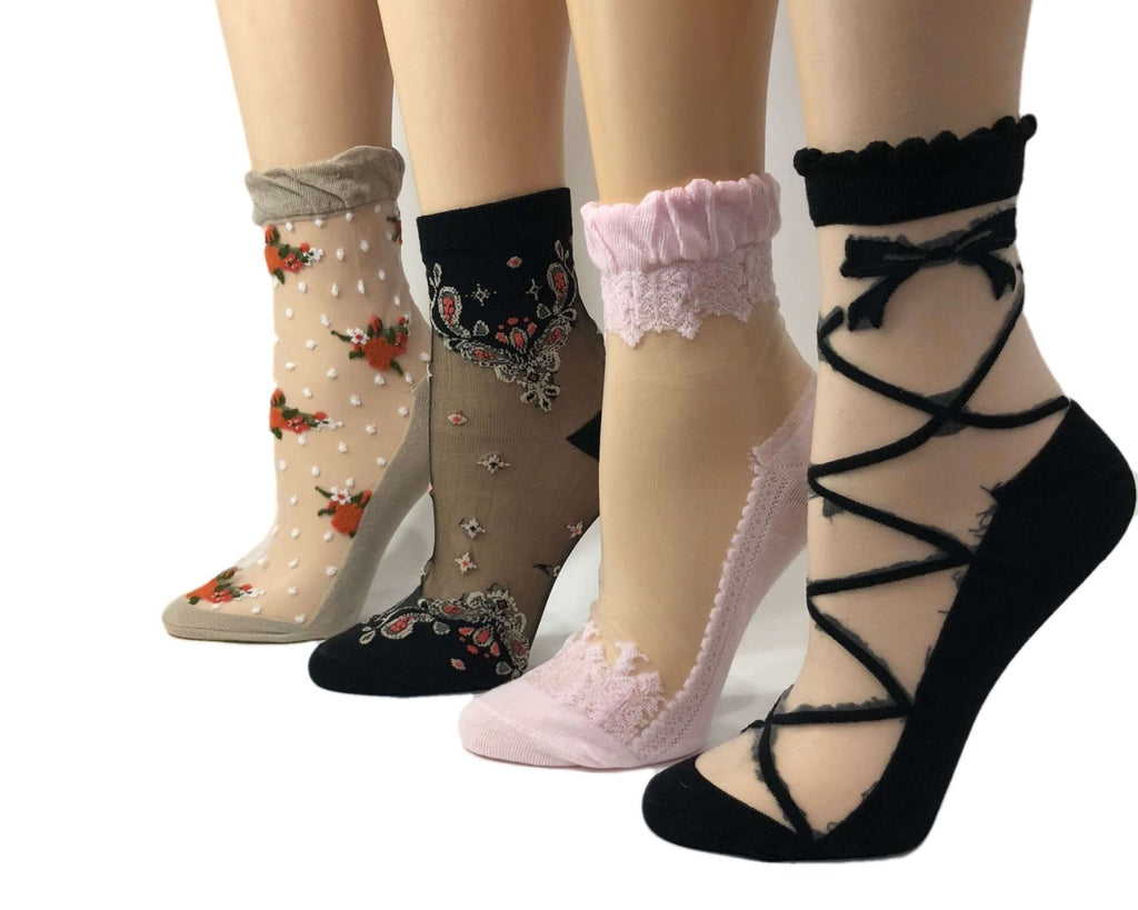 Multi Designed Sheer Socks (Pack of 4 Pairs) - Global Trendz Fashion®