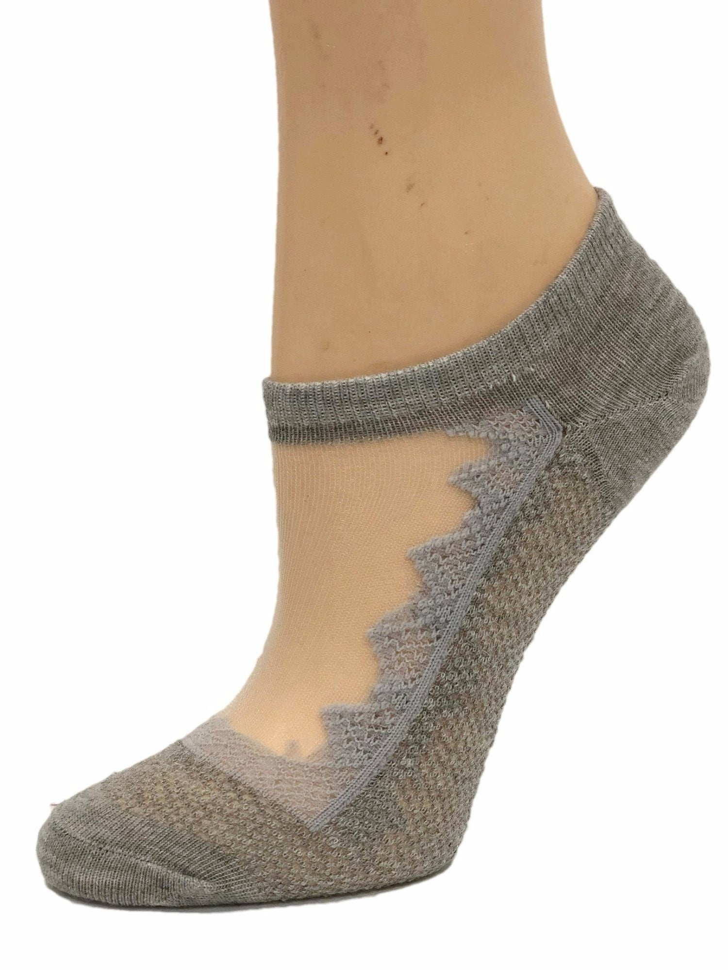 Beautiful Grey Patterned Ankle Sheer Socks - Global Trendz Fashion®