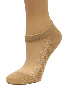 Beautiful Brown Patterned Ankle Sheer Socks - Global Trendz Fashion®
