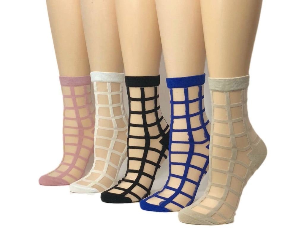 Square Patterned Sheer Socks (Pack of 5 Pairs)-Global Trendz Fashion®